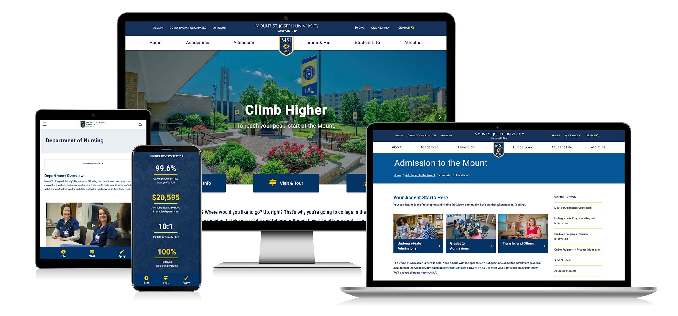 Responsive screens showing the new MSJ web design