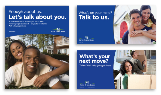 3 signs from the brand recognition campaign.