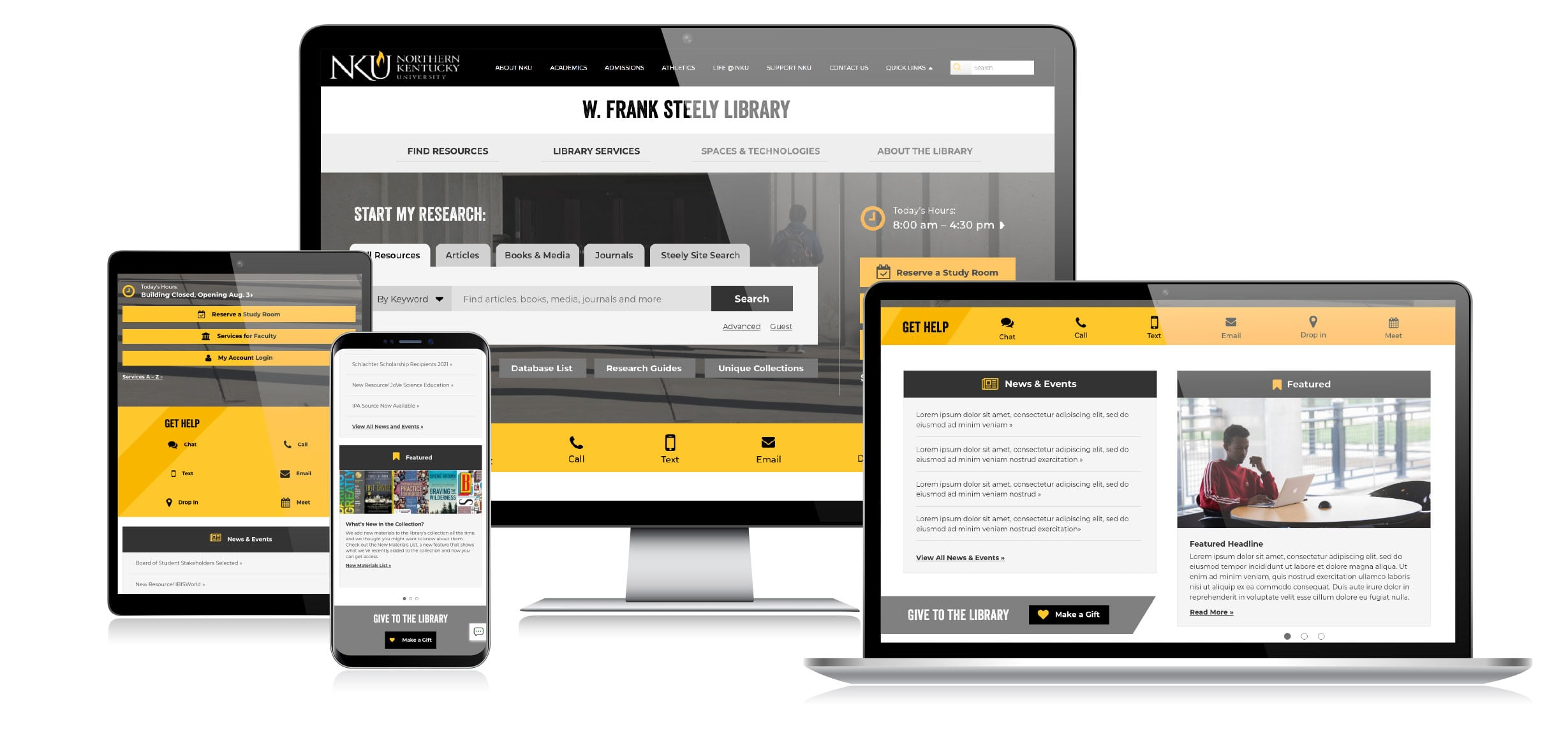 Responsive web design on multiple devices
