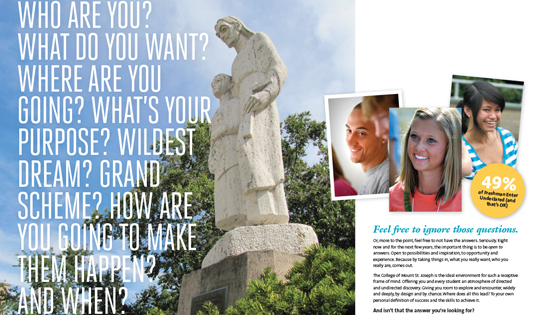 Crop of brochure highlighting custom photography of students and statue on campus