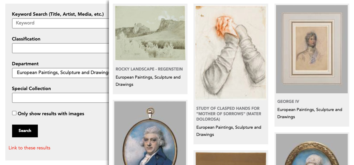 Close up of gallery search tool and results
