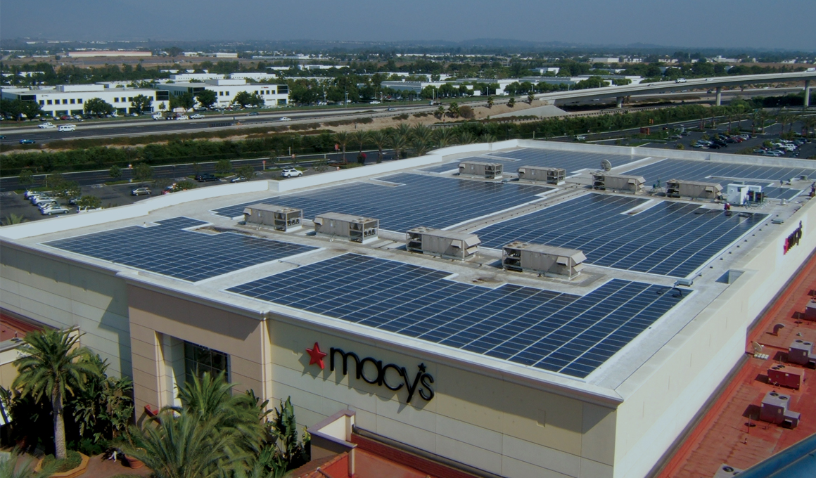 Solar panels on the roof of one of Macy's stores
