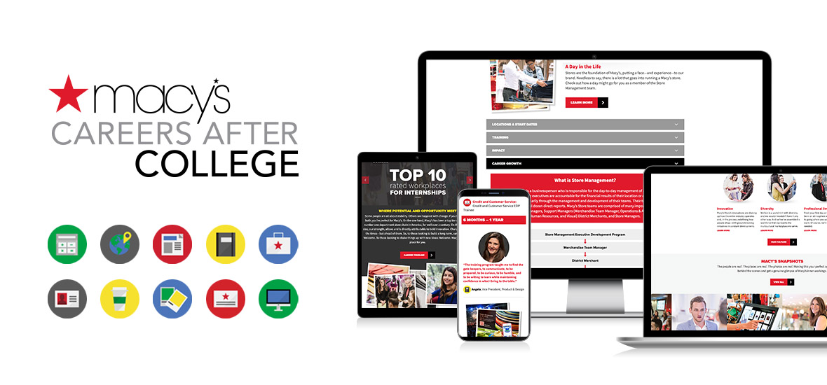 Macy's Careers After College brand elements and various screens of the responsive website