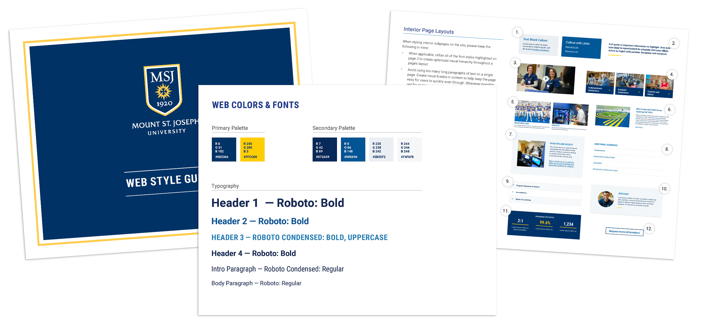 Pages from the web style guide we created for the MSJ website updates, showing new color palettes, typography and page components