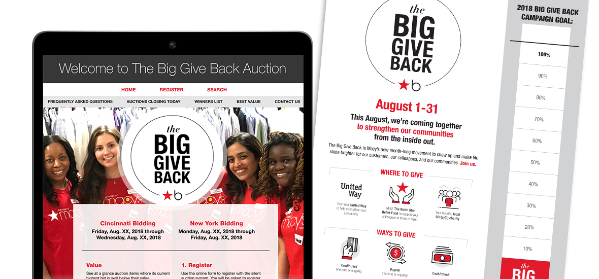 Auction landing page and campaign poster with participation tracker