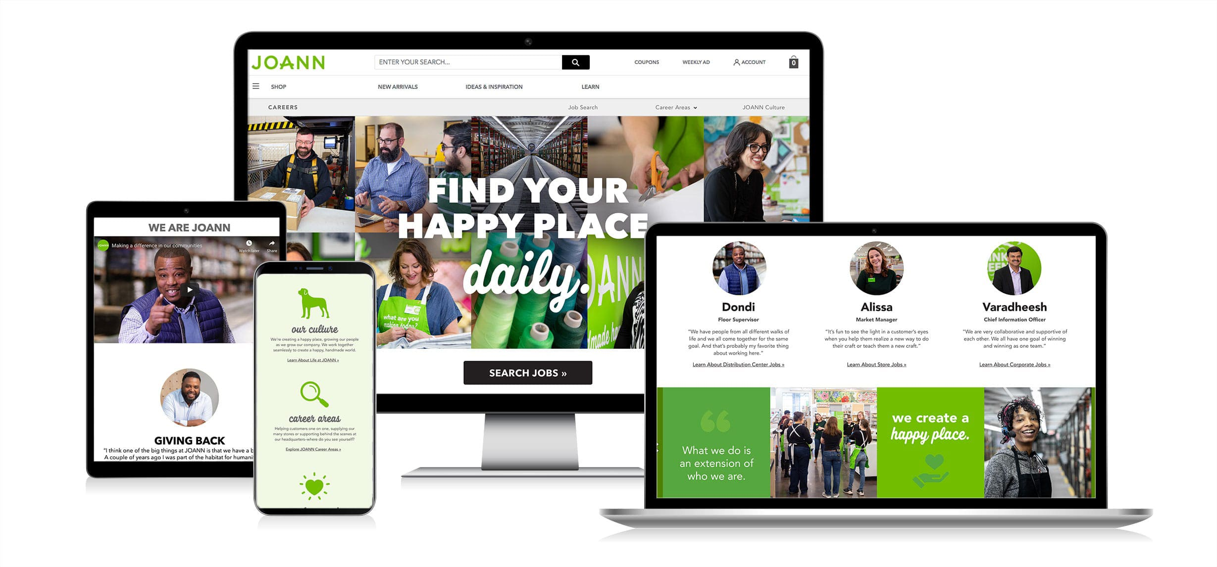JOANN's new careers website shown on desktop, laptop, tablet and mobile screens.