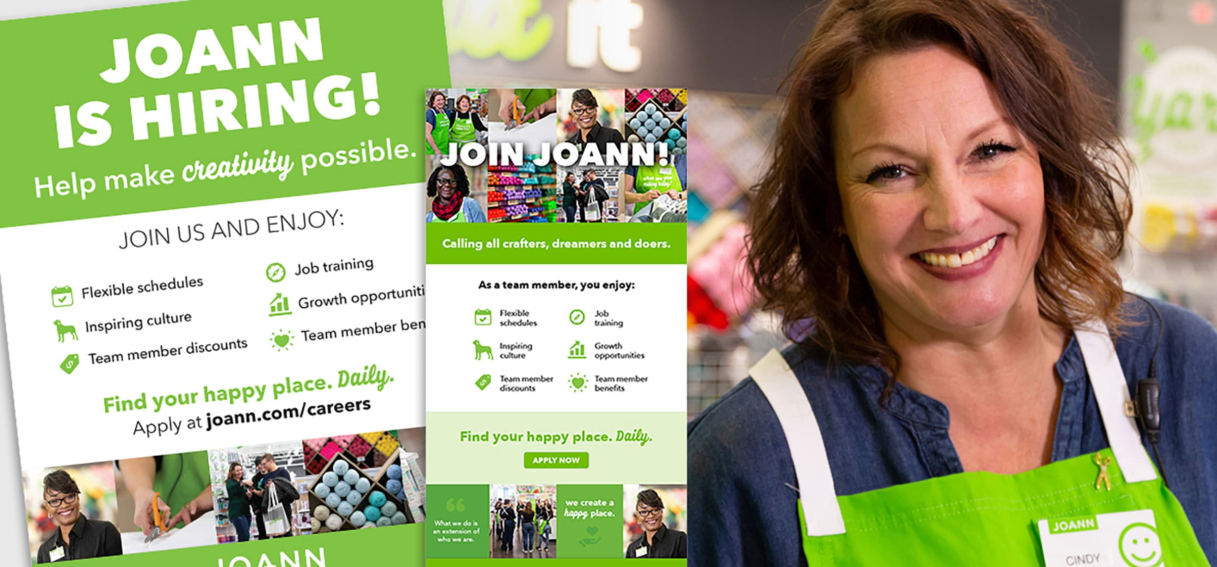 Samples of JOANN's new stores recruiting materials.