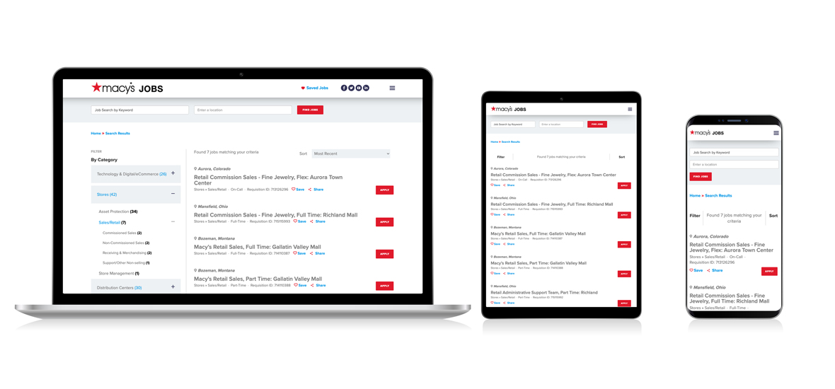 Responsive screens of Macy's job search results