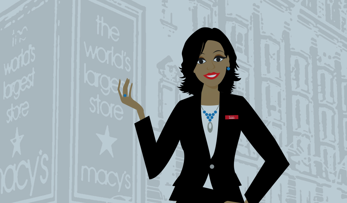 Macy's Herald Square photo converted to stylized illustration with Maggie, the website's guide