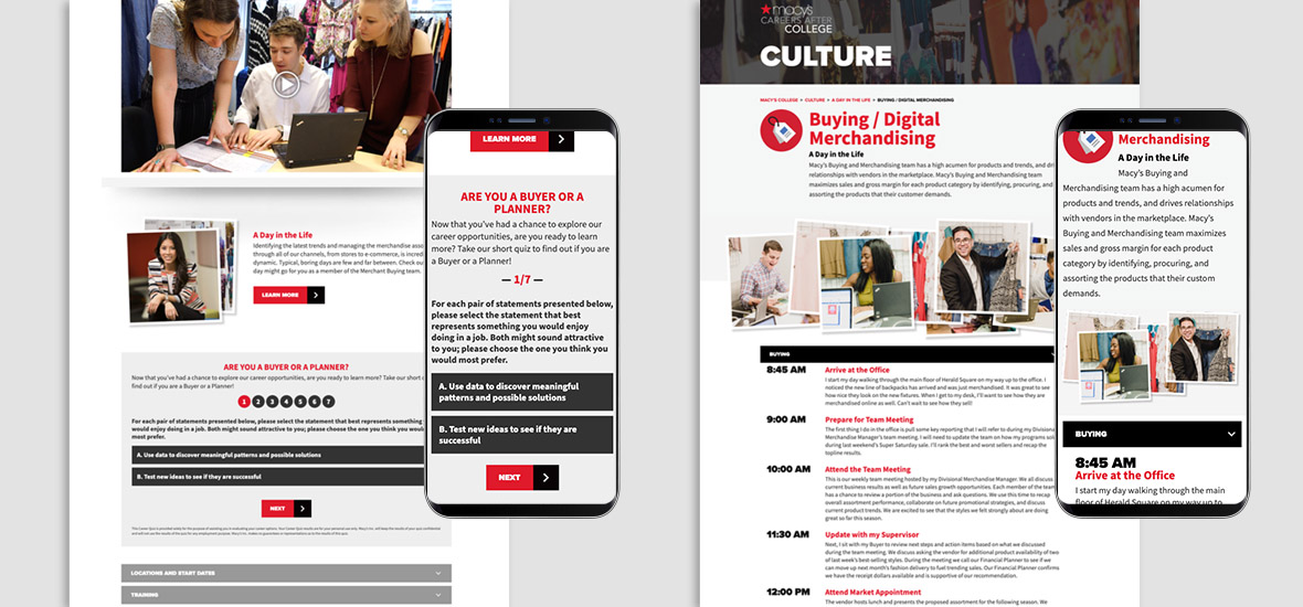 Screenshots of the career path builder and day in the life features on the Macy's Careers After College website