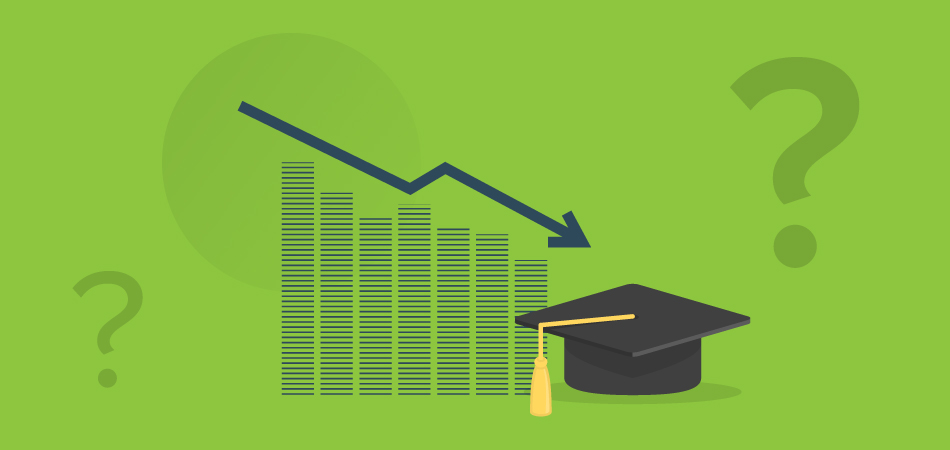 Illustration containing a downward sloped graph, graduation cap and question marks.