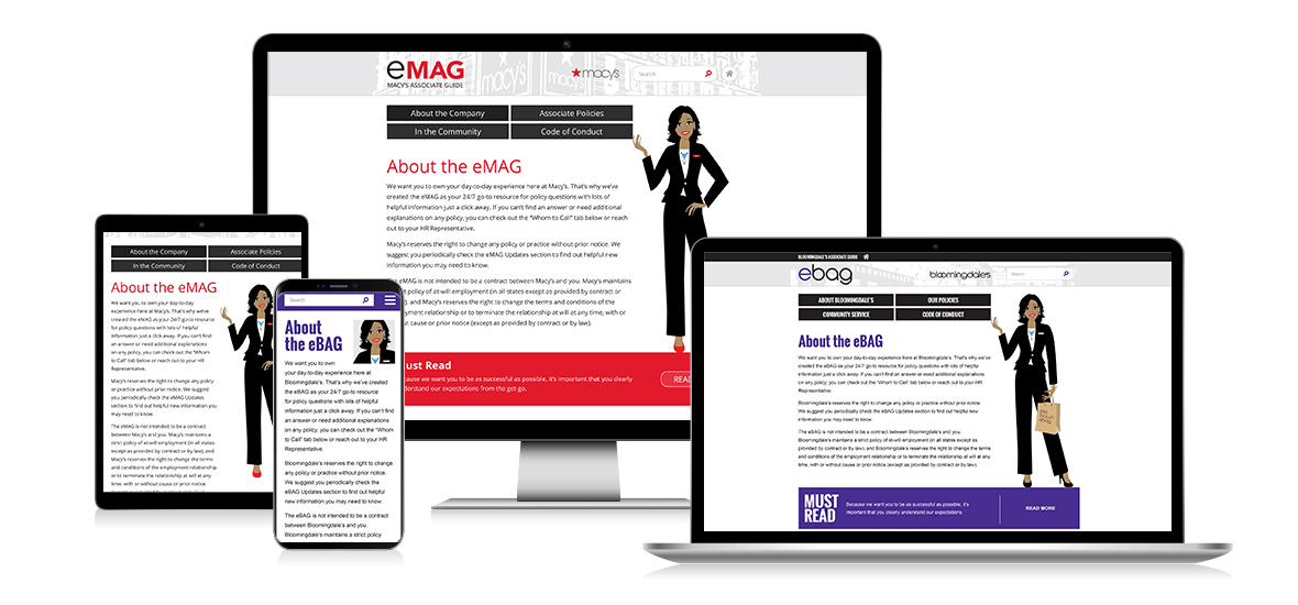 Various screens of Macy's EMAG and Bloomingdale's EBAG