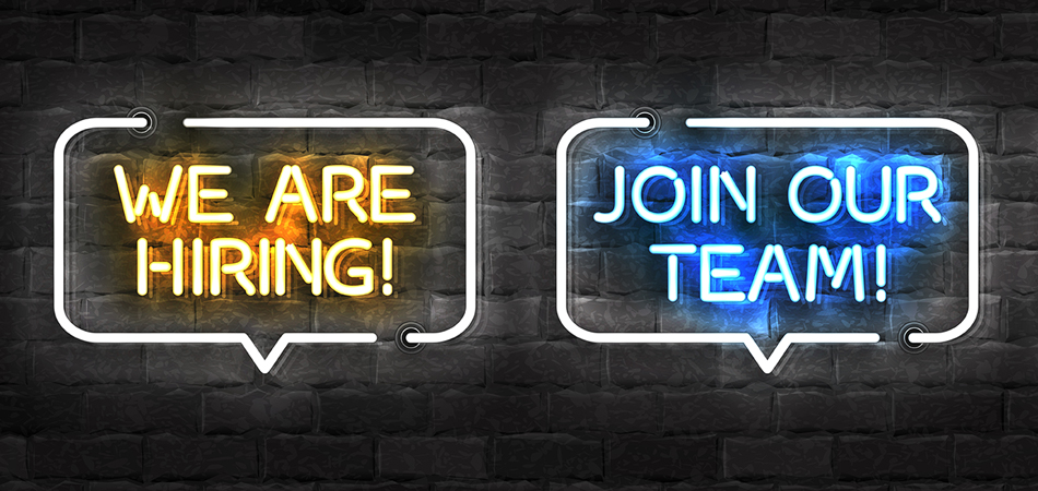"Neon signs that read, ""we are hiring!"" and ""join our team!"""