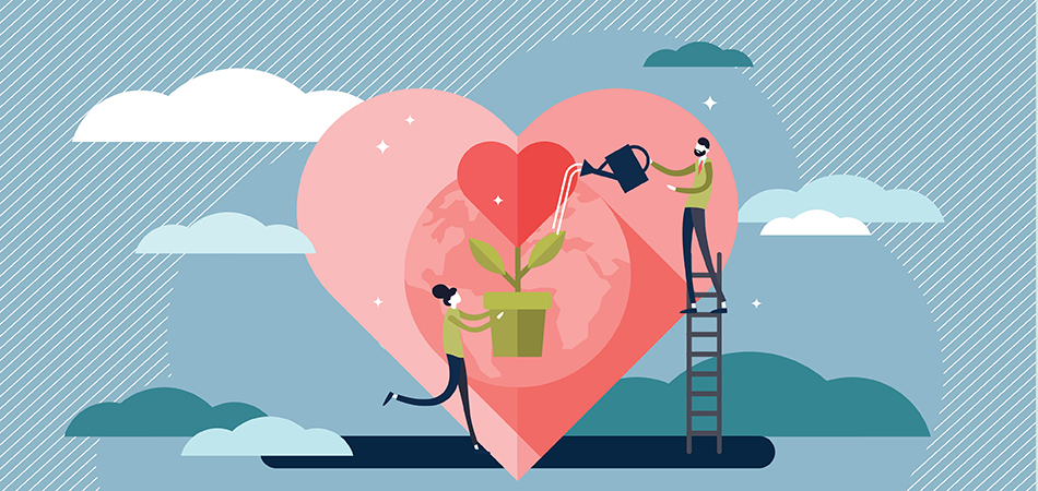Two illustrated people watering a heart shaped plant, making it grow.