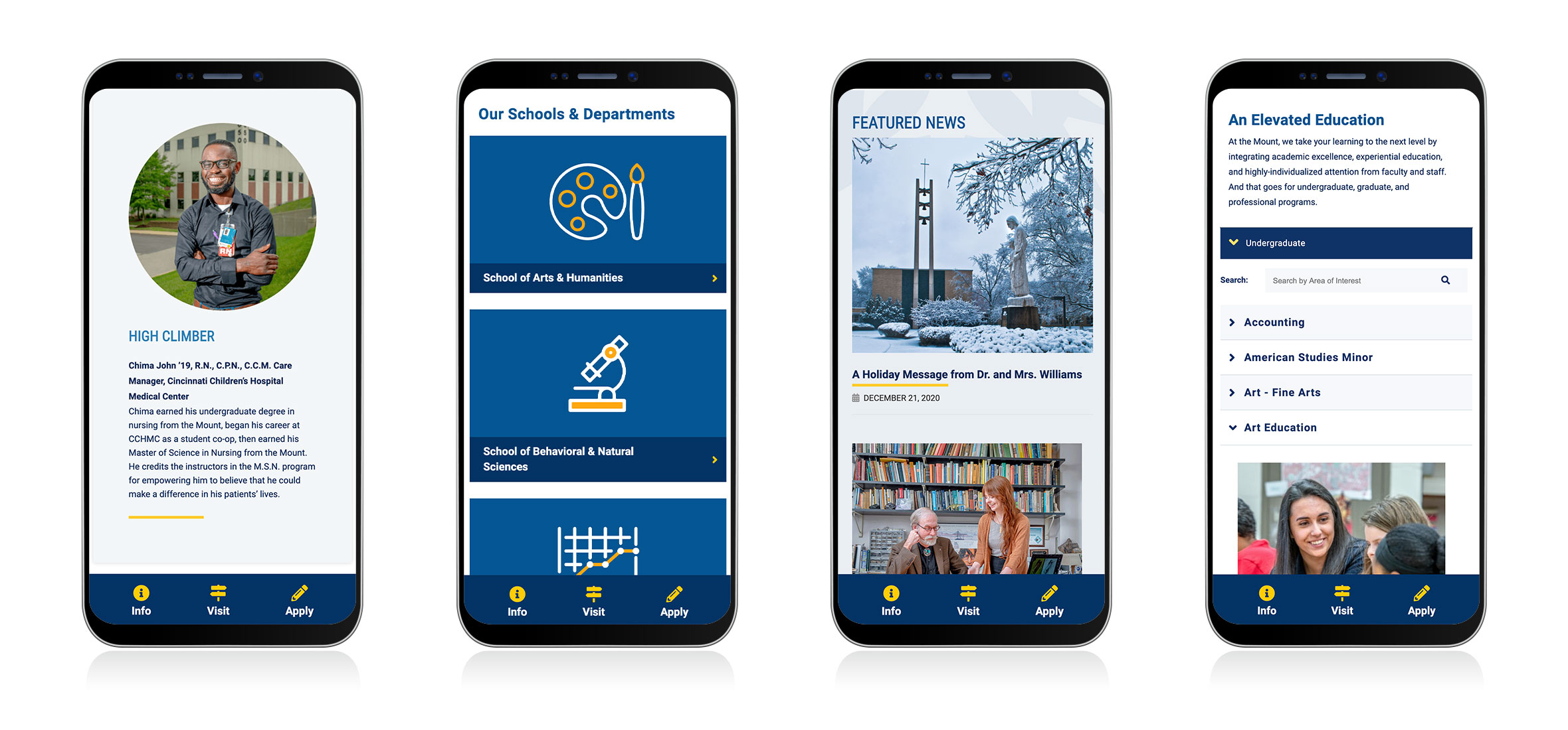 Mobile screens showing the updated UI and UX of the MSJ website