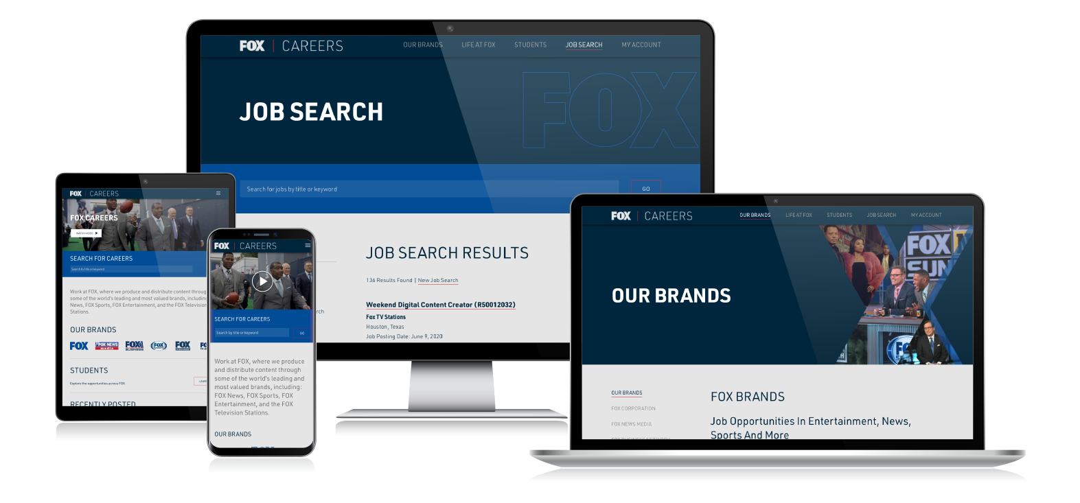 Fox Careers responsive web design on multiple devices