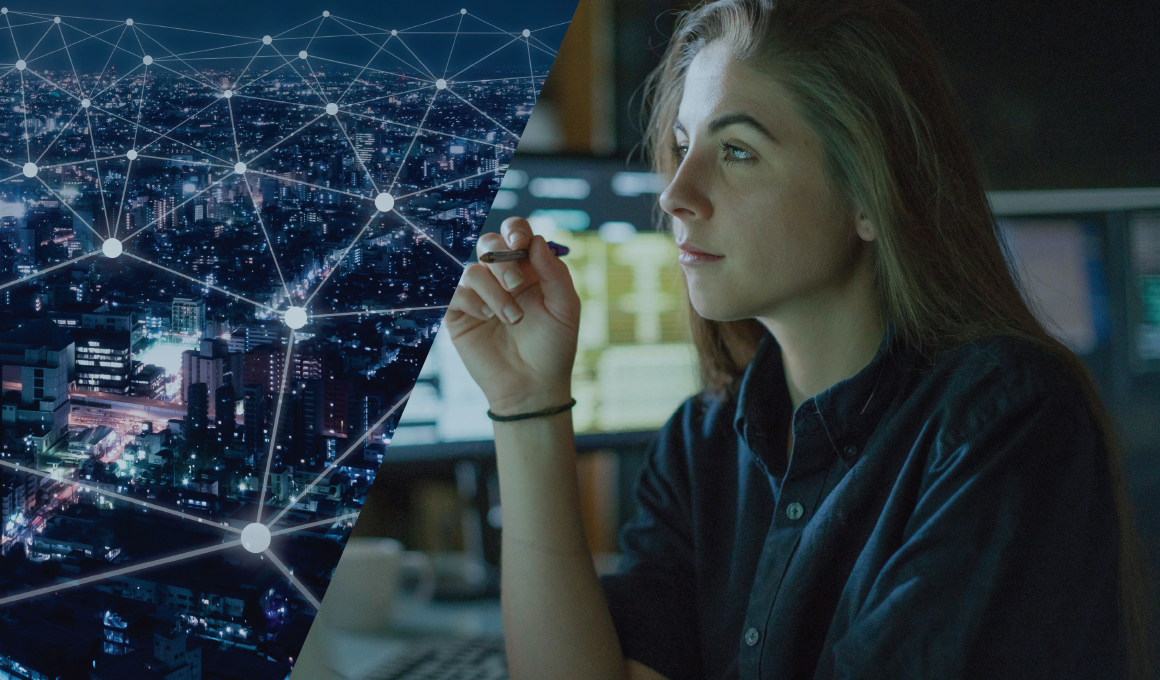 A conceptual image of a large, unidentified city and its telecommunication network represented by a series of interconnected dots is paired with a photo of a female high school student deep in thought near two blurred computer screens. The two images come together to represent the young student imagining her career in the technical field.