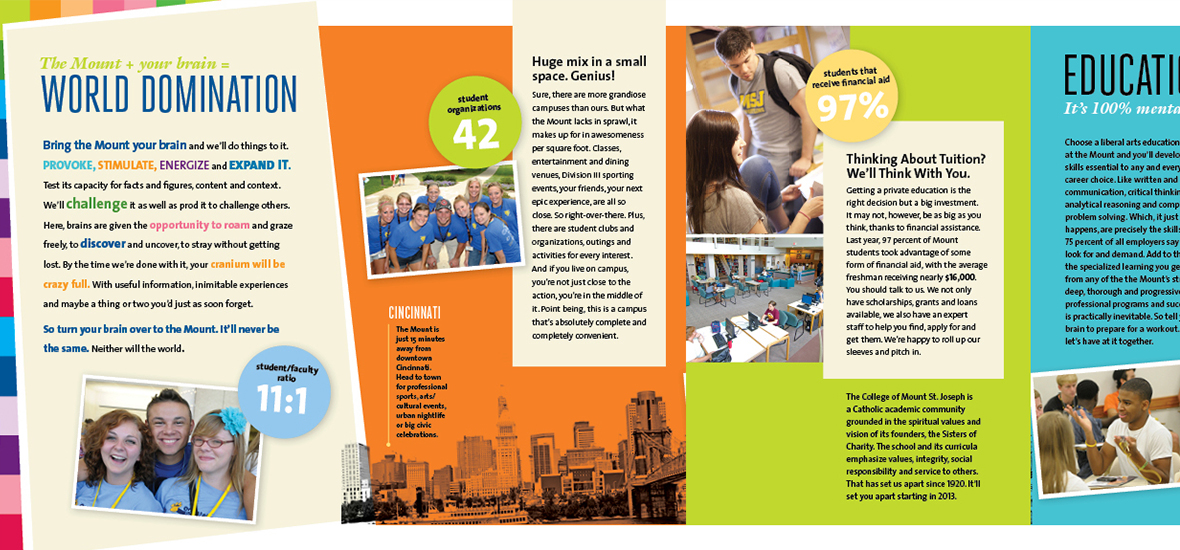 Close up of the inside of the travel brochure featuring bright colors, statistics and custom photography